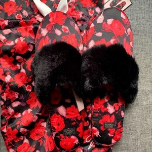Victoria's Secret Black & Red Faux Fur Slippers